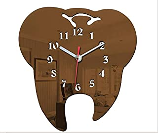 Easyinsmile DIY Tooth Shaped Wall Clock 3D Creative Silent Arcylic Mirror Wall Clocks for Dental Clinic Office Decoration and Home Decor (Coffee)