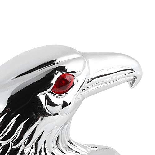 Qiilu Adorno de aluminio cromado para guardabarros, universal, 12 V, 6 mm, tornillos, tamaño de guardabarros delantero, decoración ornamental, cabeza de águila