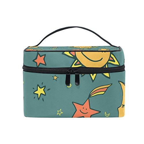 COOSUN Sun Moon and Stars Motif Sac cosmétique sac en toile Voyage Toiletry Top Handle une seule couche de maquillage Sac Organisateur multi-fonction Case cosmétique pour Grand Multicolore