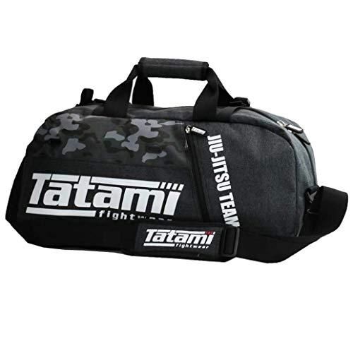 Tatami Sporttasche Jiu Jitsu Gear Bag Grey Camo - Trainingstasche Gym Tasche für Kampfsport Jiu Jitsu Fitness Boxen Muay Thai BJJ in Camo - Bundle mit Jiu Jitsu Sticker