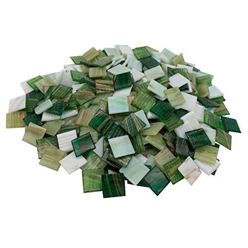 mosamare Mosaiksteine Kupferschimmer (2x2 cm, 900g, ca. 340 St.) - buntes Mosaik ideal zum Basteln - Glasmosaik - Keine Kunststoffverpackung (Kupfer Grün Mix)