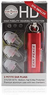 """EarPeace""""Petite"""" HD Ear Plugs For Small Ear Canals and Kids - High Fidelity Hearing Protection for Music Festivals, DJs & Musicians (Clear Ear Plugs, Red Case)"""