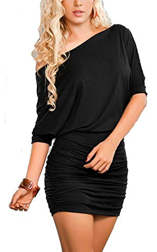 Bestfort Damen 1/2 Arm Elegant Kleid Etuikleid Business Stretch Partykleid Schulterfrei Cocktail Figurbetontes Lockere Dress Die Taille Sommer