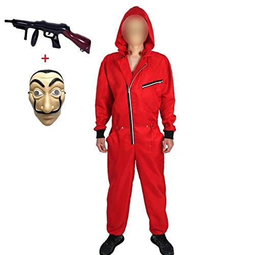 Yigoo Disfraz de carnaval, Halloween, mono con mscara y pistola de juguete, cosplay, para hombre, mujer y adulto, color rojo, 4 S