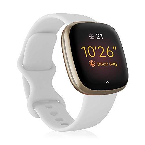 Find-MyWay Kompatibel für Fitbit Versa 3/Sense Armband Damen Herren, Silikon Verstellbarer Sport Uhrenarmband Zubehör Ersatzzubehör (Kein Uhr),Weiß,S