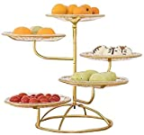 Bandeja de fruta de múltiples capas, 5 niveles, soporte para postre, creativo para pastelería, bandeja de metal, para salón, hogar, boda (dorado)
