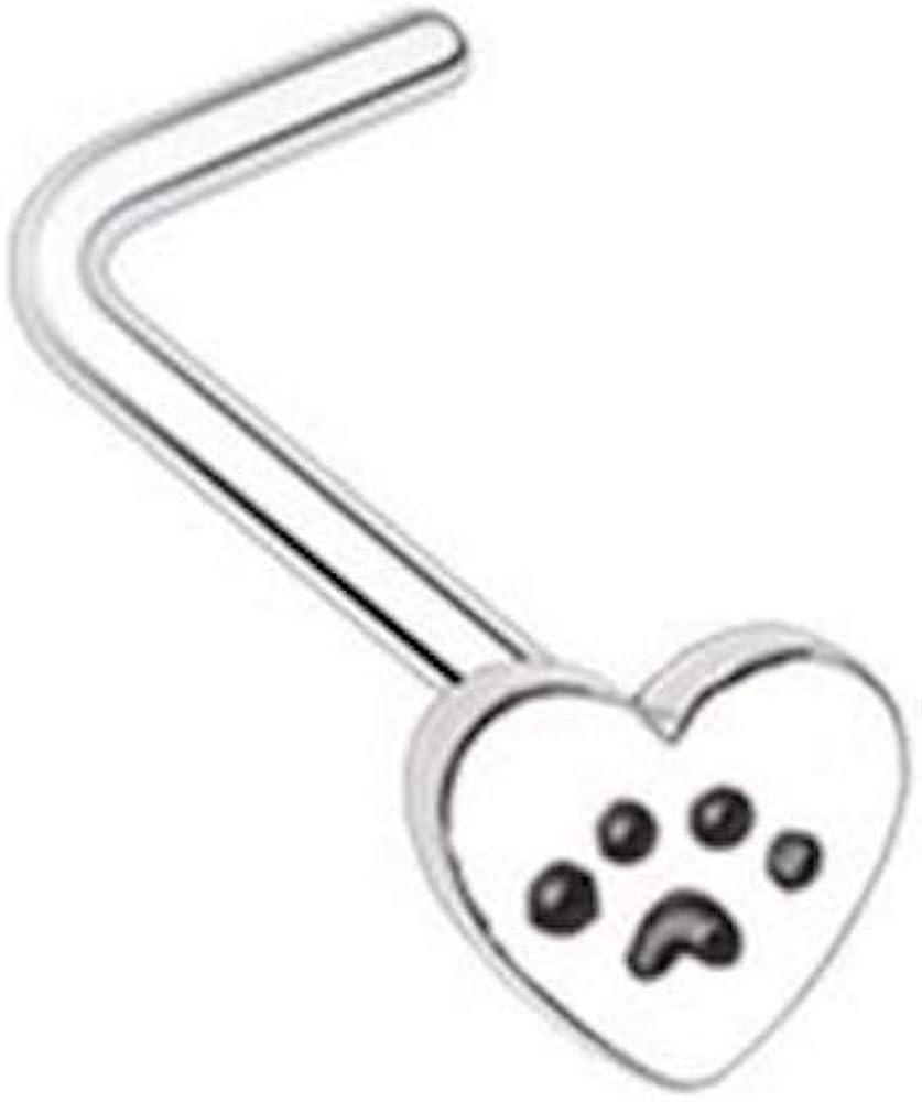 Amelia Fashion 20 Gauge Heart Paw Print L-Shape Nose Ring L-Shape Nose Stud All 316L Surgical Steel