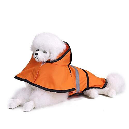 Regenjacken für HundeHunderegenmantel Reflektierende Regenjacke Wasserdichte Haustierkleidung Sicherheit Regenbekleidung Für Haustier Kleine Mittlere Hunde Welpe Hündchen Orange S-2XL (Kopie) (Ko