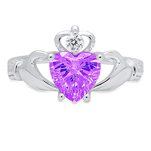 1.52ct Heart Cut Irish Celtic Claddagh Solitaire Natural Purple Amethyst Gem Stone VVS1 Designer Modern Statement Ring 14k White Gold, Size 7 Clara Pucci