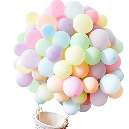 Jonami 100 Bunt Luftballons Pastel Mehrfarbige Ballons Macaron Helium Ballon Latex Premiumqualität 25 cm und 13 cm, Partyballon Deko Bunte Dekoration fur Geburtstags