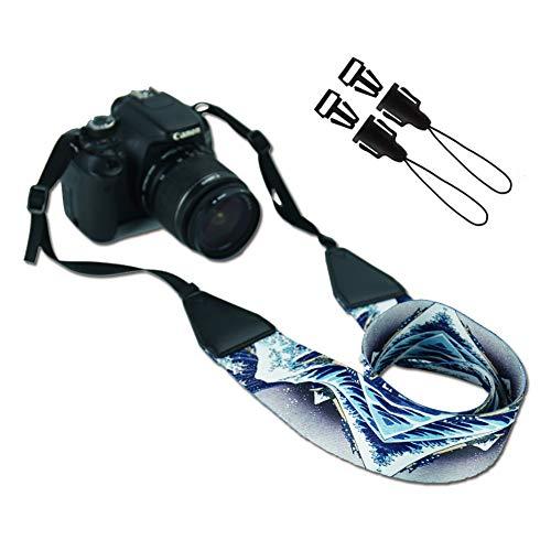 Camera Strap,QIELIZI Vintage Travel Camera Neck Shoulder Strap Belt Compatible for Canon,Nikon,Sony,Fujifilm and Digital Camera - Best Photographer Gift(Huge Wave)