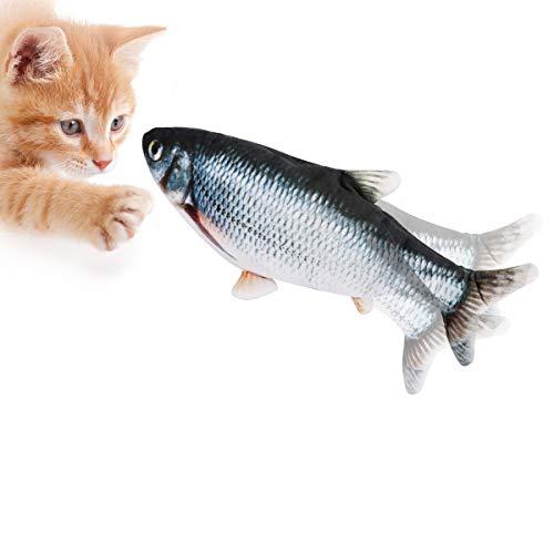 CestMall Elektrische Fische Katze, USB Elektrische Plüsch Fisch Kicker Katzenspielzeug mit Katzenminze für Katze und Kätzchen, Interaktive Katzenspielzeug zu Spielen, Beißen, Kauen und Treten