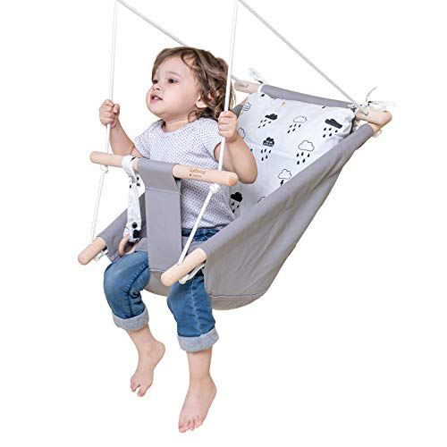 Baby Swing for Infants and Toddler, Canvas Baby Hammock Swing Indoor and Outdoor with Safety Belt and Mounting Hardware, Wooden Hanging Swing Seat Chair for Baby up to 4 Year -Little Cloud