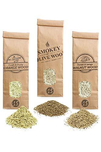 Smokey Olive Wood SOW 3X Räucherchips: 300mL Olivenholz, 300mL Orangenholz und 300mL Walnußholz. Körnung Nº1.5: für Räucherpfeife