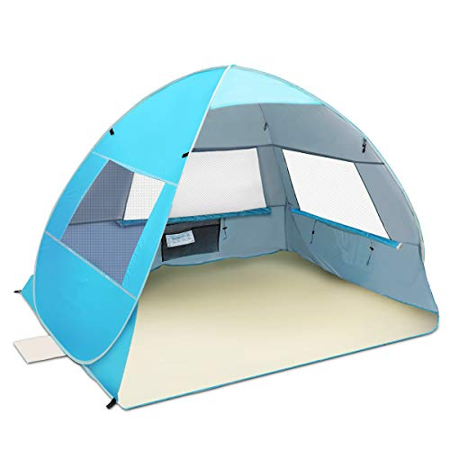SGODDE Large Pop Up Beach Tent New Anti UV Sun Shelter Tents Portable Automatic Baby Beach Tent Instant Easy Outdoor Cabana for 3-4 Persons for Family Adults