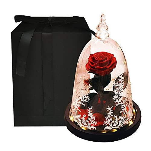 SAIO Belleza y la bestia rosa eterna flores artificiales en cúpula de cristal con luz LED noche lámpara Velentine para niña