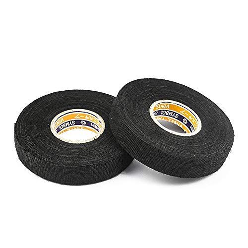 HAKACC Isolierband Schwarz, 2 Stück Gewebeband Klebeband Wasserfest Duct Tape für Kabelbäume Elektrisches Klebeband 19 mm x 15 m