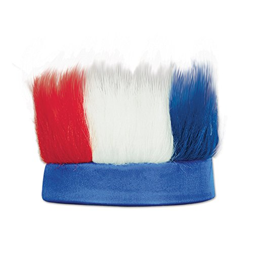 Beistle Patriotic Colorful Hairy Headband, Red/White/Blue