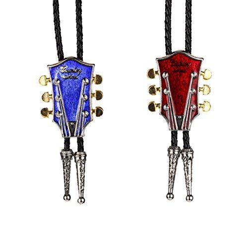 MagiDeal 2 Pcs Bolo Cravate Cowboy Motif Guitare Chaîne en Cuir Décoration Vêtement Femme Homme Rouge et Bleu