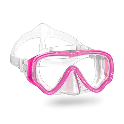 WACOOL Teens Junior Kids Snorkeling Diving Scuba Swim Swimming Mask Anti-Fog Coated Glass Diving Anti-Splash (Kids,Pink)