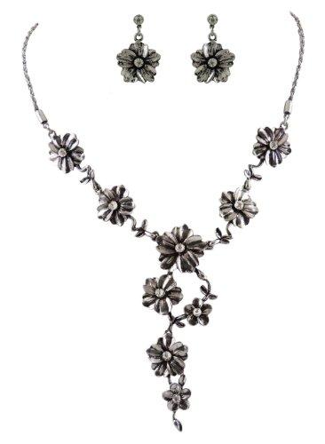 Trachtenschmuck Blüten Collier Set - Kette und Ohrstecker - matt - oder antik-silber mit Perlen oder Kristallen Crystal klar (Antik silberfarben / Kristalle)