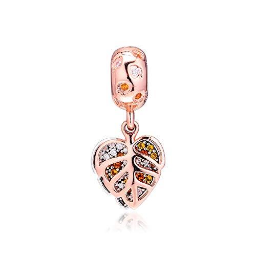 LILANG Pandora 925 Pulsera de joyería Encantos de Hojas de Rosas Naturales Ajuste Original Cuentas de Plata esterlina para Hacer Cuentas Kralen Perle Mujeres Regalo de Bricolaje