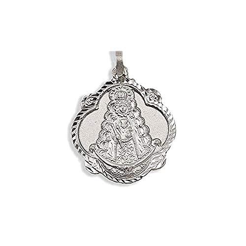 Medalla Plata Ley 925M Virgen Rocío Pandereta 20mm. Labrada - Personalizable - Grabación Incluida En El Precio