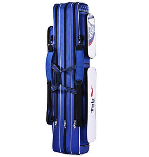 Black Temptation Cajas de cañas de Pescar Impermeables Tubos de Pesca Cañas de Pescar Bolsas Tres Niveles 80 cm (Azul)