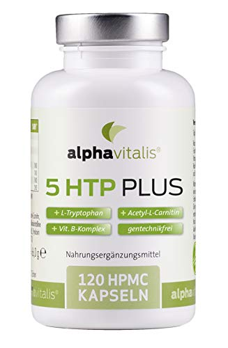 5 HTP Plus - 200mg 5-Hydroxytryptophan + L-Tryptophan + Acetyl-L-Carnitin + Vitamin B Komplex - vegan- 120 Kapseln