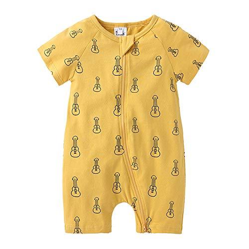 Treer Baby Strampler Mädchen und Jungs, Spielanzug Baumwolle Sommer Babybody Baby Kurzarm-Body für Süß Neugeborene Weich Bequem Short-Sleeve Bodysuits (66cm,Gelbe Gitarre)