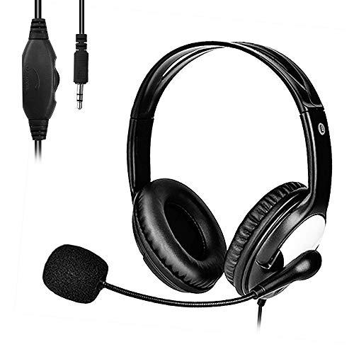 Auriculares Telefono con Micrófono 3.5mm, PC Auriculares, Auriculares Diadema, Business Cascos para Skype, PC, Teléfono Fijo, Móviles, Oficina, Teleconfe