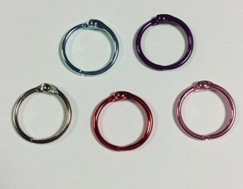 Ringbuch-Ringe, Packung mit 5 Stück, 19mm, gemischt–Spaltring für Sammelalben und Basteleien
