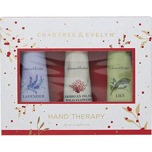 Crabtree & Evelyn Handtherapie-Geschenk-Set, 3 x 25 g, Lavendel, Lilie und Karibikinsel Wildblumen