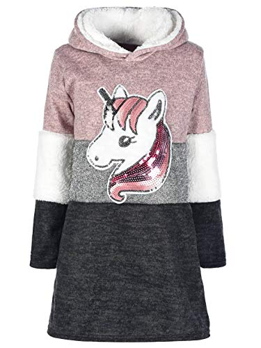 Mädchen Kleid Longshirt Pullover Lang Arm Kapuze Einhorn Pailletten 30209 Rosa 104