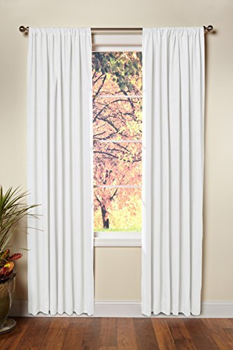COTTON CRAFT - Set of 2-100% Cotton Duck Reverse Tab Top Curtain Panel Set - 50x84 - White - Classic Elegance for a Clean Crisp Look - Each Panel is 50 in Wide