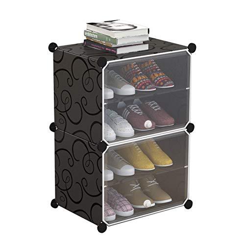 Jklt Práctico sistema de almacenamiento de zapatero con puerta portátil zapatero, accesorios fáciles de usar (color: negro, tamaño: 44 x 31 x 65 cm)