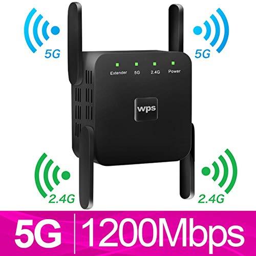 suyanouz Draadloze WiFi Repeater 5G WiFi Extender 1200Mbps Repiter Wifi Lange Bereik Booster Wi-Fi Signaal Versterker AC 2.4G 5ghz Ultraboost 5G zwart
