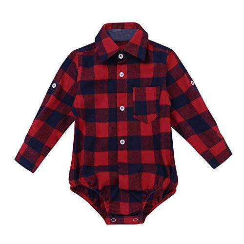 iEFiEL Baby Mädchen Jungen Body Kurzarm/Langarm Bodysuit Baumwolle Strampler Kariertes Hemd mit Kragen Kleinkinder Freizeithemd Shirt Rot 74