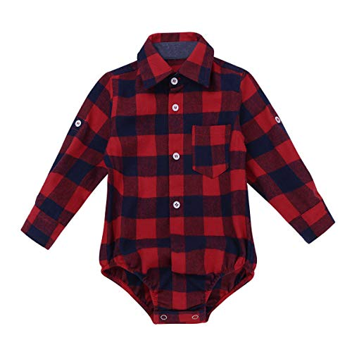 iEFiEL Toddler Boys Plaid Long Sleeve Button-up Bodysuit Formal Dress Shirt Baby Gentleman Romper Wedding Party Outfits Red 12 Months