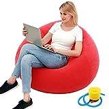 Puf reclinable para jugador, sofá inflable al aire libre, lavable, para sala de estar, dormitorio, puf ultra suave, sin relleno, decoración del hogar, sofá inflable flocado (rojo)