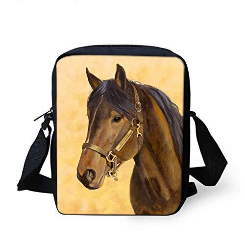 3D-Druck Pferd Schüler Handtasche Kinder Umhängetasche Schultertasche Rucksack Kinder Kleine Tasche Jugend Tasche