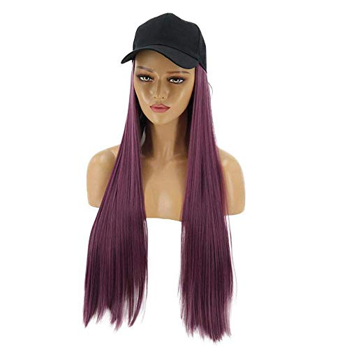 Rnwen Postizos Peluca de Mujer Europea y de Moda Peluca con Capucha Longitud de Pelo Liso 62 cm (Dorado/Morado/Gris) (Color:Dorado) (Color : Purple)