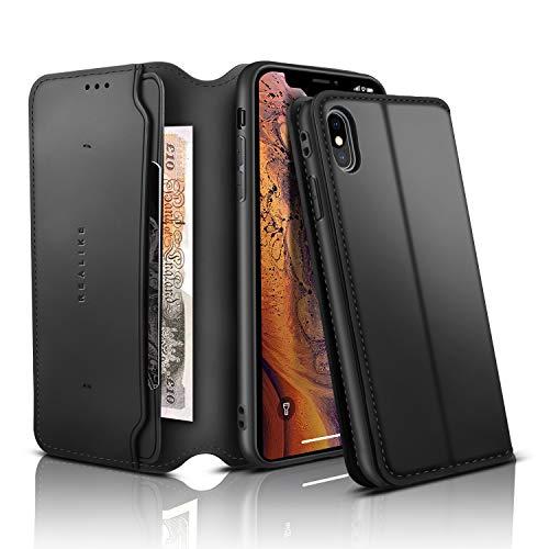 "REALIKE Telefon Hülle Kompatibel mit iPhone X iPhone XS Leder Flip Brieftasche Schutzhülle für iPhoneX/Xs (5.8""),für iPhone X iPhone XS Hülle. (SCHWARZ)"