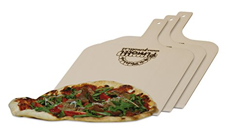 Pimotti Pizzaschaufel/Brotschaufel/Flammkuchenbrett aus naturbelassenem Sperrholz für Pizzastein (3er Set)
