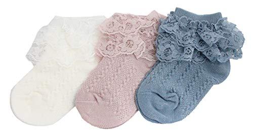 Chaussettes d'été pour bébé fille avec volants en dentelle Rose 6-12 mois - - Small