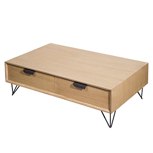 TABLE PASSION - Table Basse 4 tiroirs vik Bois et Metal