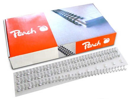 Peach PW079-10 Drahtbinderücken Easy-Wire, 3:1, 34 Ringe, A4, 100 Stück, 8 mm, silber