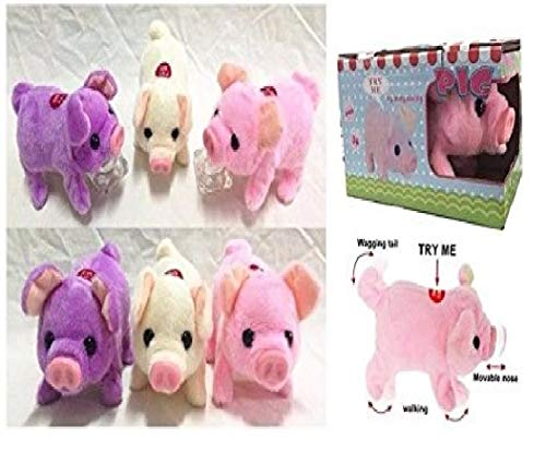 Lvnv Toys@ Toy Pig – Battery Operated Walking & Tail Wagging Plush Pig - Colors May Vary