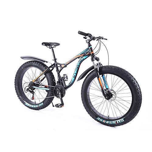 MYTNN Fatbike 26 Zoll 21 Gang Shimano Style 2020 Fat Tyre Mountainbike 47 cm RH Snow Bike Fat Bike (Schwarz)