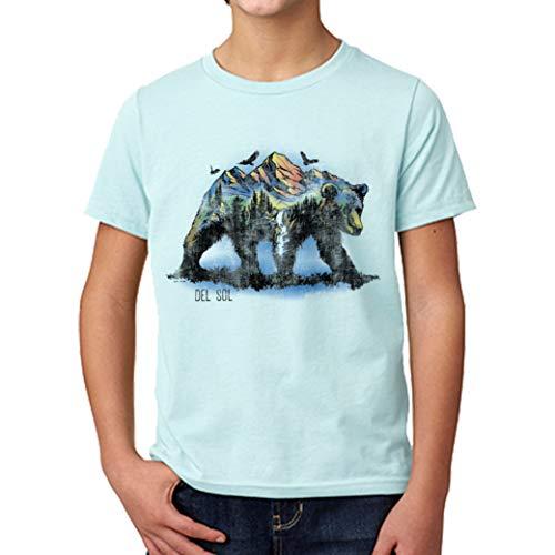 DelSol - Kids Crew tee - Bear Scene - Ice Blue - Camiseta Que Cambia de Color - El diseño se transforma con la luz del Sol - Baby Rib-Knit Set-in Collar - YL - 1 Pc